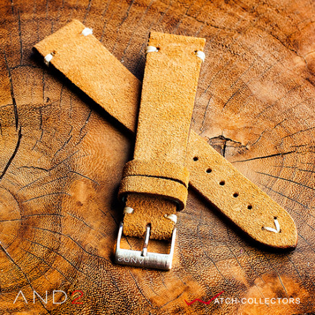 AND2 Wolly Medium Brown Suede Leather Strap 20mm(V-Stitch)