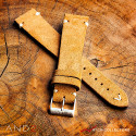 Wolly Medium Brown Suede Leather Strap 20mm(V-Stitch)