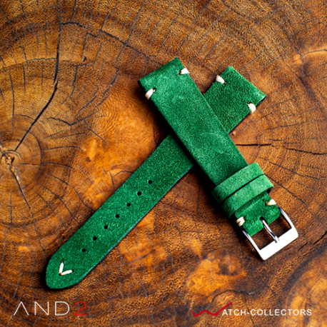 AND2 Wolly Green Forest Suede Leather Strap 20mm (White V-Stitching)