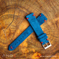AND2 Wolly Funky Blue Suede Leather Strap 20mm