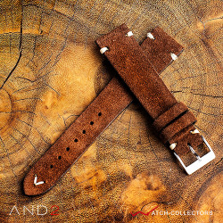 AND2 Wolly Coffee Brown Suede Leather Strap 20mm(White V-Stitching)