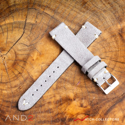 AND2 Wolly Sky Grey Suede Leather Strap 20mm(White V-Stitching)