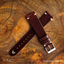 AND2 Laguna Night Brown Leather Strap 20mm (White V-Stitching)