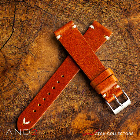 AND2 Laguna Medium Brown Leather Strap 20mm (White V-Stitching)