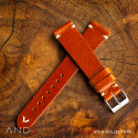 Laguna Medium Brown Leather Strap 20mm (White V-Stitching)