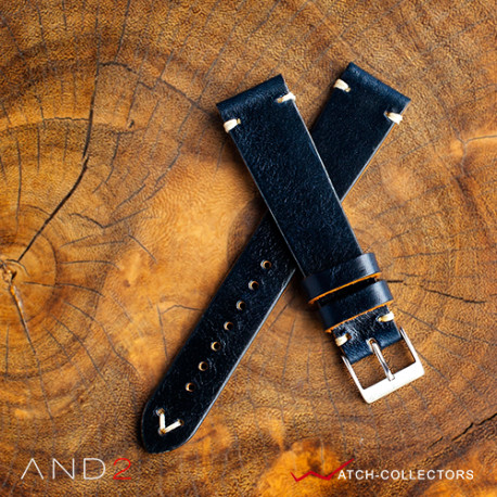 AND2 Laguna Navy Blue Leather Strap 20mm (White V-Stitching)