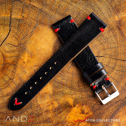 AND2 Laguna Diablo Black Leather Strap 20mm (Red V-Stitching)