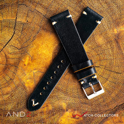 AND2 Classy Black Shell Leather Strap 20mm