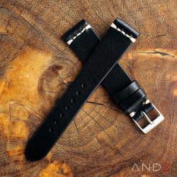 AND2 Laguna Black Leather Strap 19mm(White Cross Stitch)