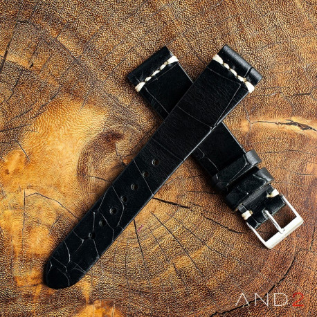 AND2 Vintage Cracked Croco Black Leather Strap 19mm(White Cross Stitching)