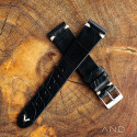 Vintage Cracked Croco Black Leather Strap 19mm(White V-Stitching)