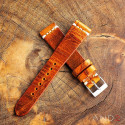 Vintage Cracked Croco Brown Leather Strap 19mm(White Cross Stitching)