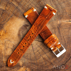 AND2 Vintage Cracked Croco Brown Leather Strap 19mm (White V-Stitching)