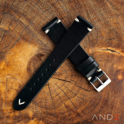 AND2 Classy Black Leather Strap 19mm (White V-Stitching