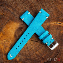 Wolly Sky Blue Suede Leather Strap 19mm(White V-Stitching)