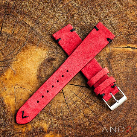 AND2 Wolly Crimson Red Suede Leather Strap 19mm (Black V-stiching)