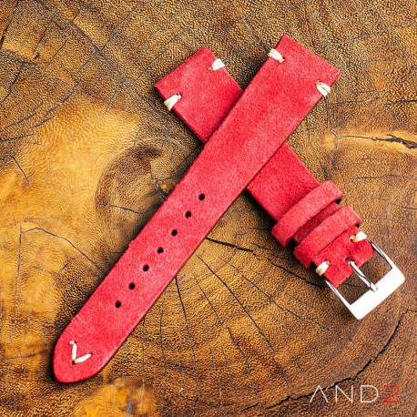 AND2 Wolly Crimson Red Suede Leather Strap 19mm (White V-stiching)