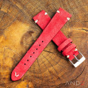 Crimson Red Suede Leather Strap 19mm(White V-stitch)