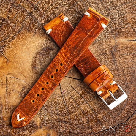 AND2 Vintage Cracked Croco Brown Leather Strap 22mm(White V-Stitching)