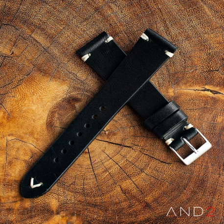 AND2 Laguna Black Leather Strap 22mm (White Cross Stitching)