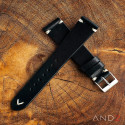 Laguna Black Leather Strap 22mm (White Cross Stitch)
