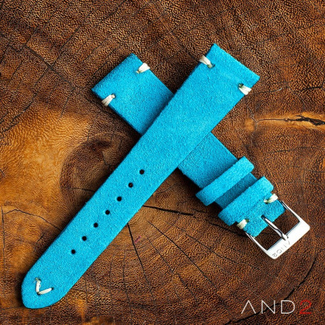 AND2 Wolly Sky Blue Suede Leather Strap 22mm (White V-Stitching)