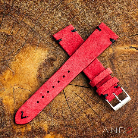 AND2 Wolly Crimson Red Suede Leather Strap 22mm (Black V-stiching)