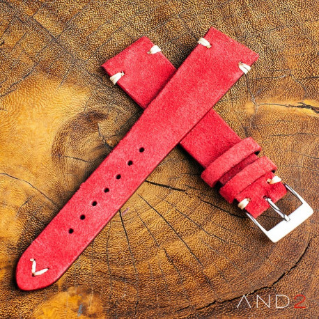 AND2 Wolly Crimson Red Suede Leather Strap 22mm (White V-stiching)