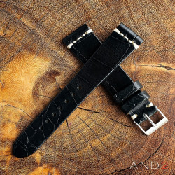 AND2 Vintage Cracked Croco Black Leather Strap 22mm(White Cross Stitching)