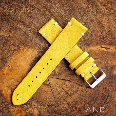 AND2 Wolly Irish Yellow Suede Leather Strap 22mm (White V-stiching)