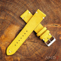 Wolly Irish Yellow Suede Leather Strap 22mm(White V-stich)