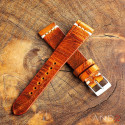 Vintage Cracked Croco Brown Leather Strap 22mm(White Cross Stitch)