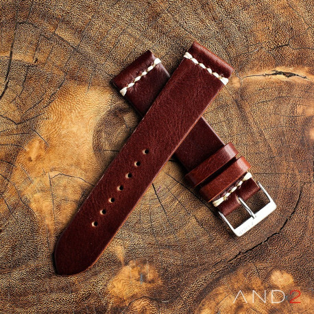 AND2 Laguna Night Brown Leather Strap 22mm (White Cross Stitching)