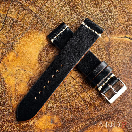 AND2 Laguna Black Shell Leather Strap 22mm (White Cross Stitch)