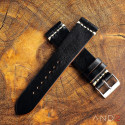 Laguna Black Shell Leather Strap 22mm (White Cross Stitch)