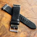 Laguna Black Leather Strap 22mm (White Cross Stitching)