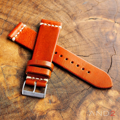 AND2 Laguna Medium Brown Leather Strap 22mm(White Cross Stitching)