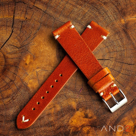 AND2 Laguna Medium Brown Leather Strap 22mm(White V-Stitching)