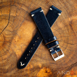 AND2 Laguna Navy Blue Leather Strap 22mm(White V-Stitching)