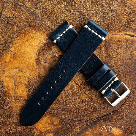 AND2 Laguna Navy Blue Leather Strap 22mm(White Cross Stitching)
