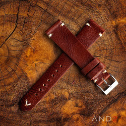 AND2 Laguna Night Brown Leather Strap 22mm(White V-Stitiching)