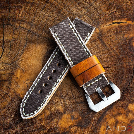 Mili Brown Canvas strap with Beige Stitch