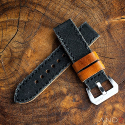 MILI Black Canvas strap with Black Stitch