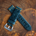 Braided Douglas Blue Leather Strap with Beige Stich 24mm