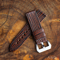 Two Tone Brown Shark strap with Black Stiching  24mm