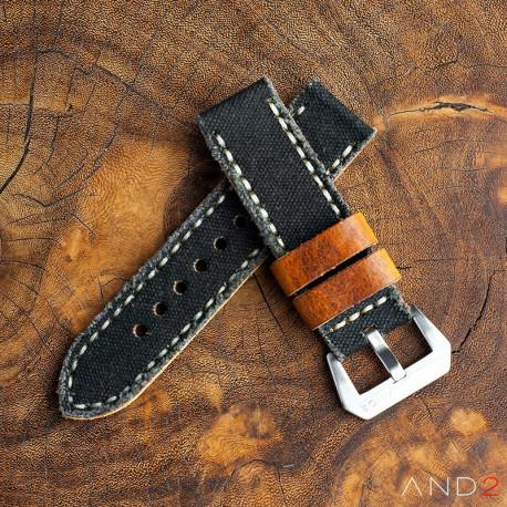 MILI Black Canvas strap with Beige Stitch