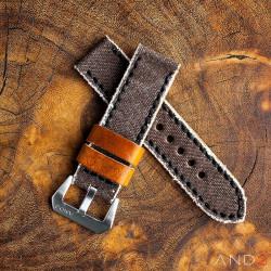 MILI Brown Canvas strap with Black Stitch