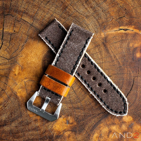 MILI Brown Canvas strap with Black Stitch