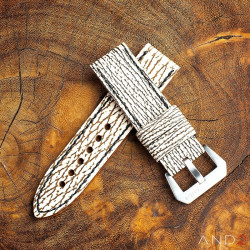 Two Tone White Shark strap with Black Stiching  24mm