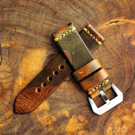 Military Camouflage Leather Strap 24mm